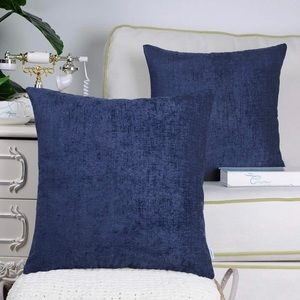 Cozy Throw Pillow Covers, Navy Blue, Set of 2